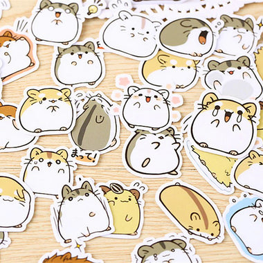 Kawaii Hamster Paper Stickers 2 Boxes 76 Pcs