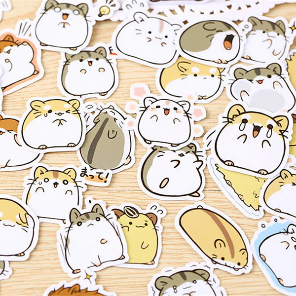 Kawaii Hamster Paper Stickers 45 Pcs [Gift]
