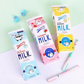 Kawaii Milk Box Zipper Pencil Case