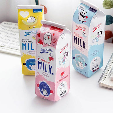 Kawaii Milk Box Zipper Cartoon Pencil Case