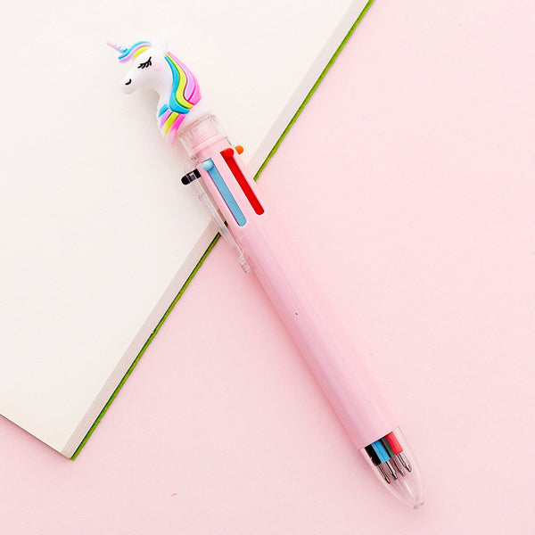 Kawaii Multicolor Ballpoint Pens 6-in-1, 🦄 Unicorn / Pink