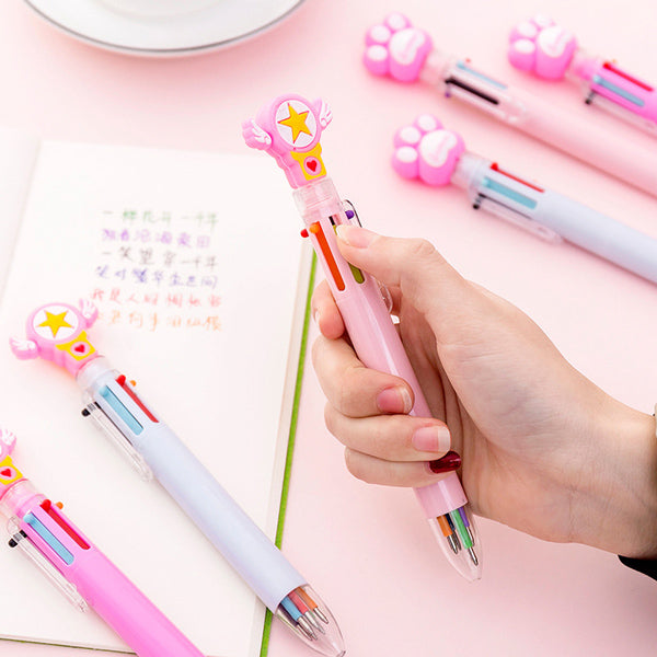 Kawaii Multicolor Ballpoint Pens 6-in-1