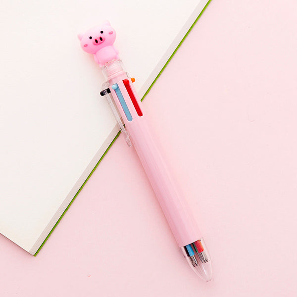 Kawaii Multicolor Ballpoint Pens 6-in-1, 🐷 Pig / Pink
