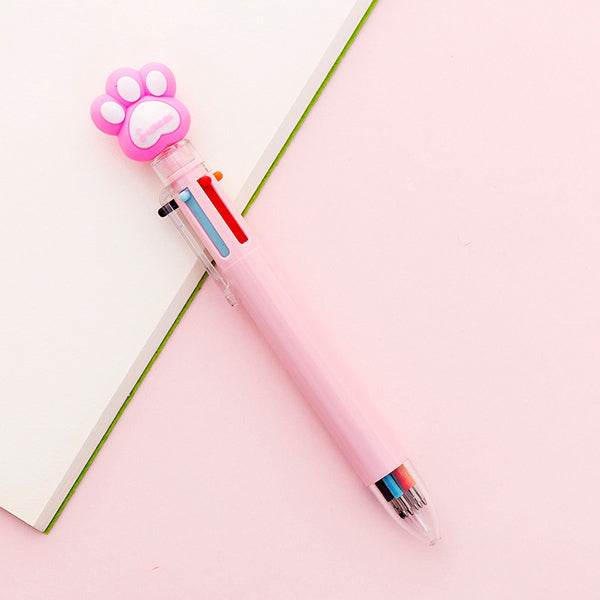 Kawaii Multicolor Ballpoint Pens 6-in-1, 🐾 Paw / Pink