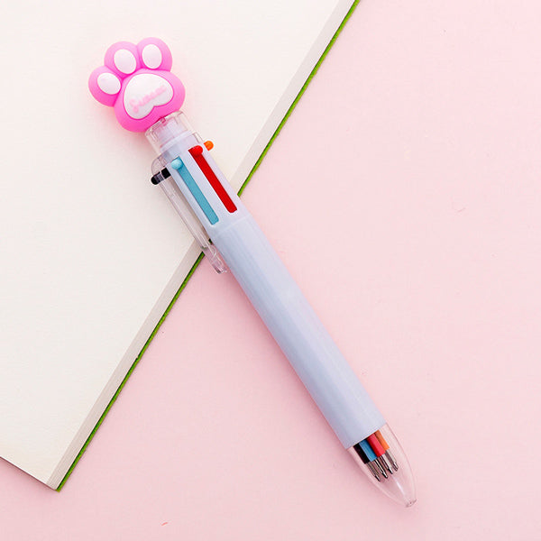 Kawaii Multicolor Ballpoint Pens 6-in-1, 🐾 Paw / Pale Blue
