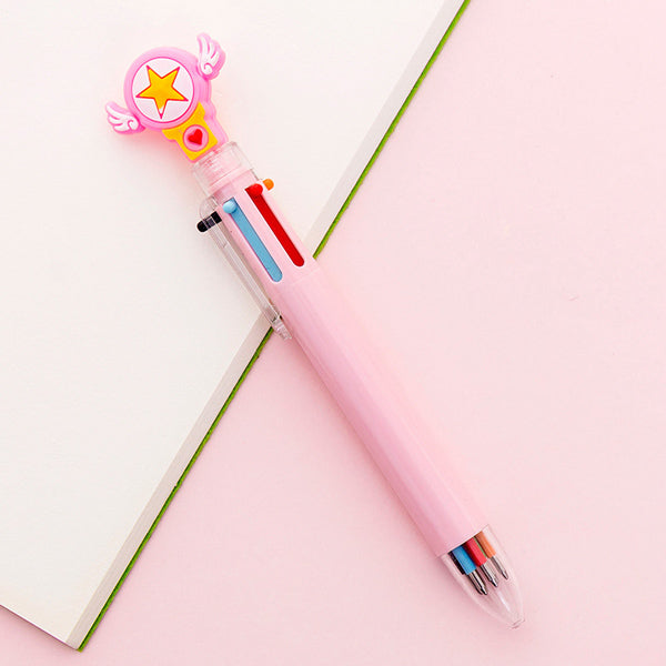 Kawaii Multicolor Ballpoint Pens 6-in-1, ⭐️ Lucky Star / Pink