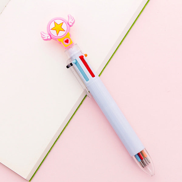 Kawaii Multicolor Ballpoint Pens 6-in-1, ⭐️ Lucky Star / Pale Blue