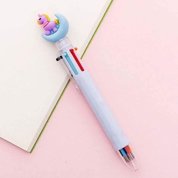 Kawaii Multicolor Ballpoint Pens 6-in-1, 🦄 Unicorn on Moon🌙 / Pale Blue