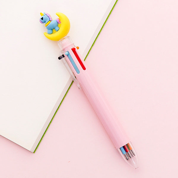 Kawaii Multicolor Ballpoint Pens 6-in-1, 🦄 Unicorn on Moon🌙 / Pink