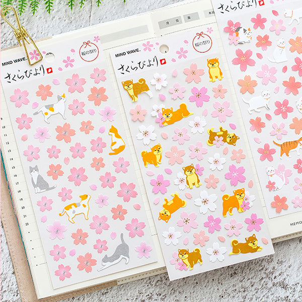 Kawaii Sakura Blossom and Animal Cartoon Stickers