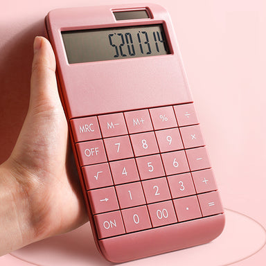 Kawaii Solar Dual Power Calculator, Pink