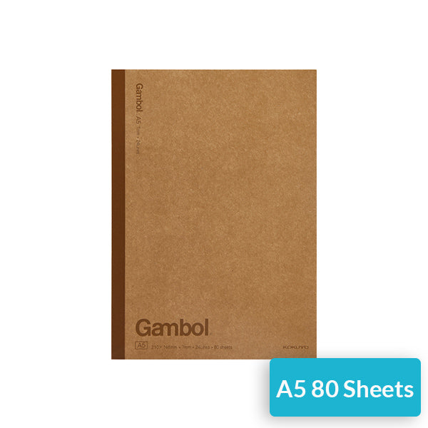 KOKUYO Gambol Lined Kraft Paper Cover Notebook Pack, A5 / 80 Sheet