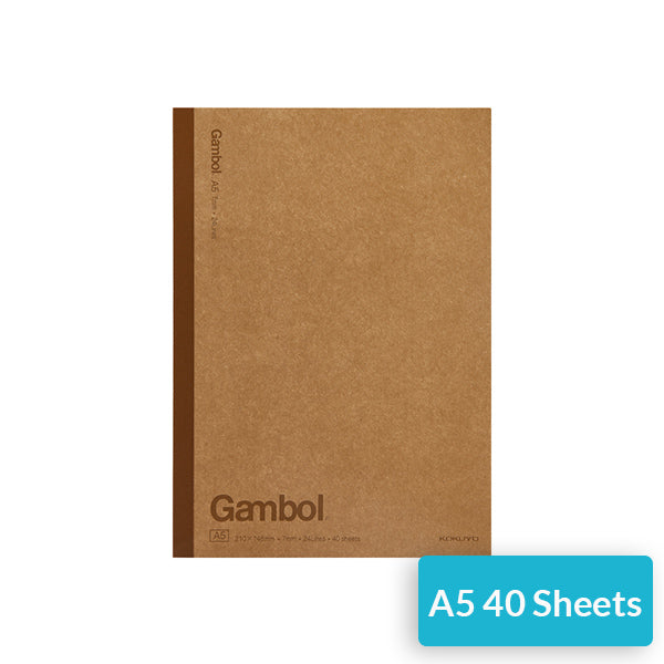 KOKUYO Gambol Lined Kraft Paper Cover Notebook Pack, A5 / 40 Sheet