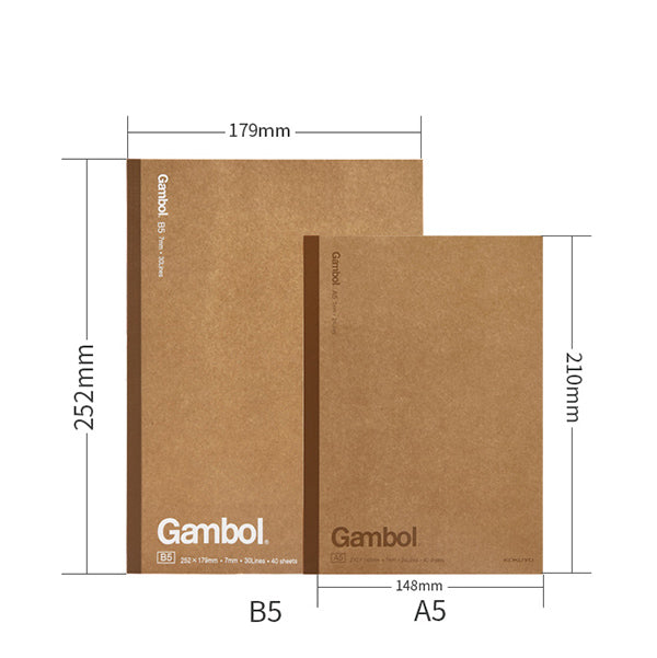 KOKUYO Gambol Lined Kraft Paper Cover Notebook Pack