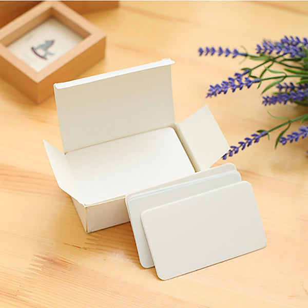Kraft Paper Blank Flash Memo Card Box 100 Sheets, White with Box