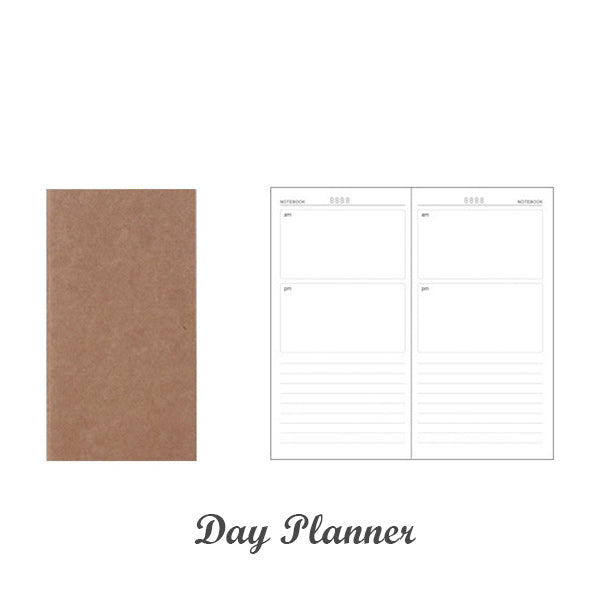 Kraft Paper Travel Planner Notebook Dotted Lined Grid Blank, Day Planner