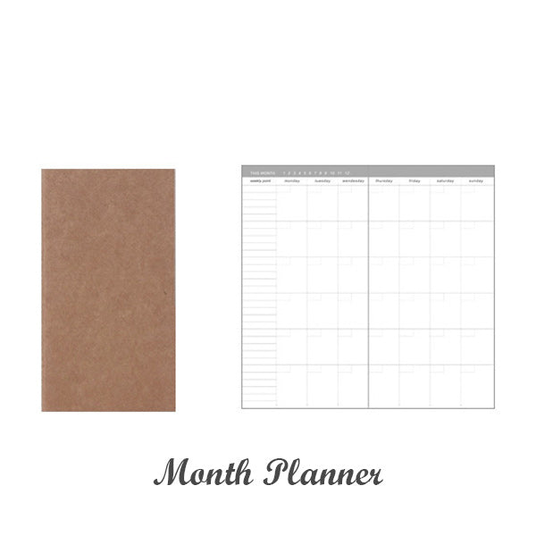 Kraft Paper Travel Planner Notebook Dotted Lined Grid Blank, Month Planner