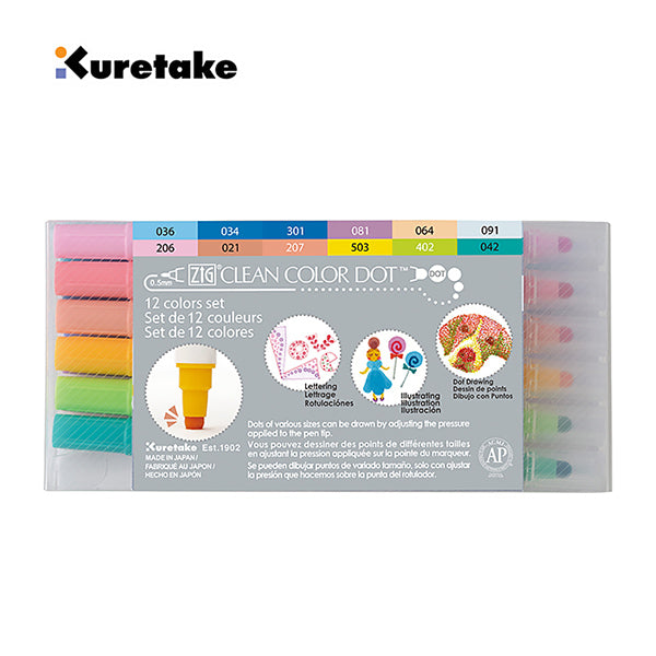 Kuretake Zig Clean Color Dot Double-Sided Marker 6 / 12 Colors Set, 12 Colors Set
