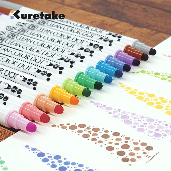 Kuretake Zig Clean Color Dot Double-Sided Marker 6 / 12 Colors Set