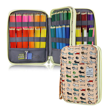 Large Capacity 192 Slots Multi-Layers Zipper Pen Organizer Bag for Artist, Cat (Type 1)