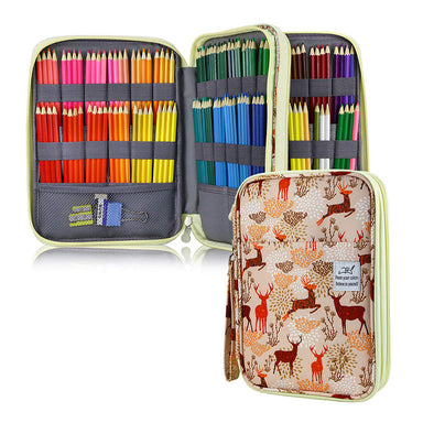 Large Capacity 192 Slots Multi-Layers Zipper Pen Organizer Bag for Artist, Deer