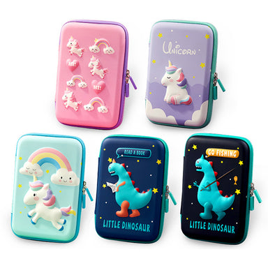 Large Zippered Unicorn Dinosaur Hardtop Organizer Pencil Case