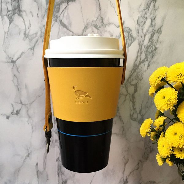 Leather Drink Holder, Yellow