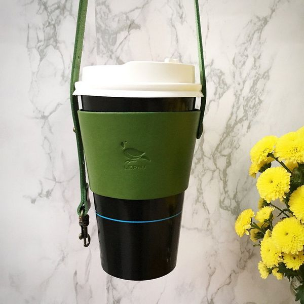 Leather Drink Holder, Forest Green