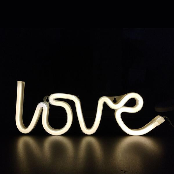 Word and Sign Neon Light, 💋Love / Yellow