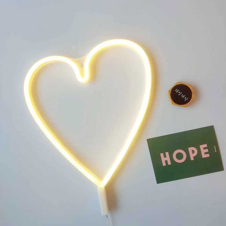 Word and Sign Neon Light, ❤️Heart / Yellow