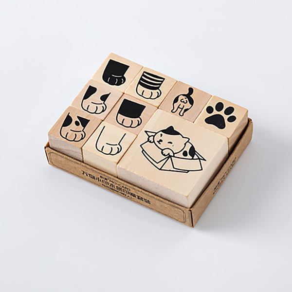 LifeStyle Wooden Stamp Set, Lazy Cat