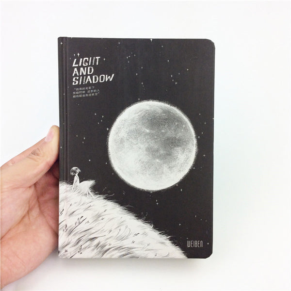 Light and Shadow Illustration Thick Page Personal Journal Notebook, 🌚Light and Shadow (Pattern D)