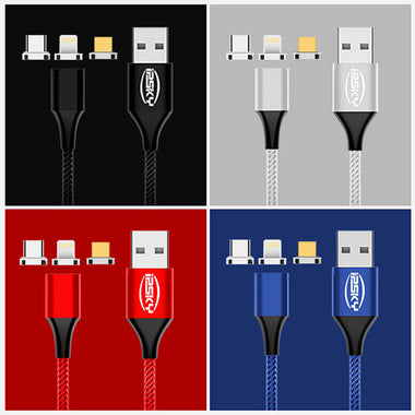 Magnetic Charge Data Cable for iPhone Lightning, Android Type-C, Micro-USB