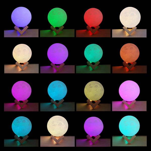 Moon Lamp (Remote Control), 8cm (3 inch approx.)🌝 Remote Control (16 colors)