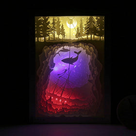 PaperCut Light Shadow Box,🐋 Whale / I Don't Need Paper Gift Box &Paper Bag