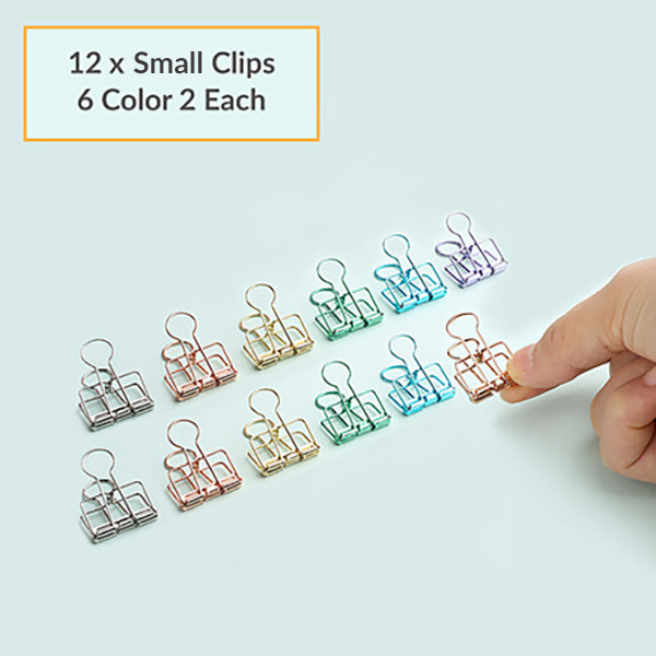 Pastel Binder Clip 6 Colors Packs, 12 x Small Clips
