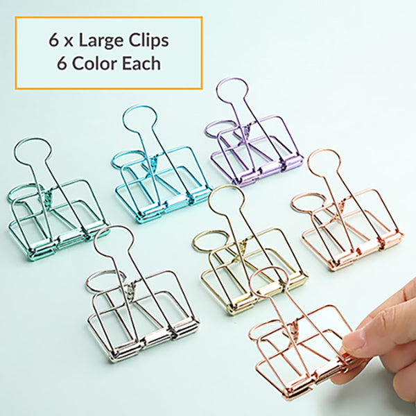 Pastel Binder Clip 6 Colors Packs, 6 x Large Clips