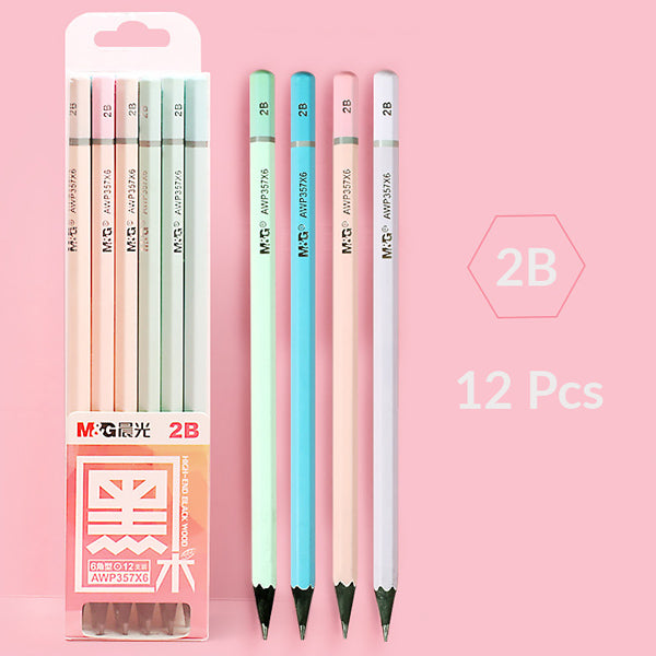 Pastel Black Wood HB /2B Pencil 12 Pcs Set, 2B 12 Pcs (without eraser)
