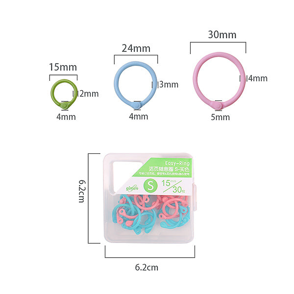 Pastel Color Binding Ring Set 15 / 24 / 30 mm
