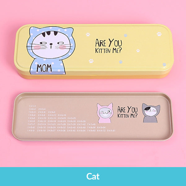 Pastel Color Cartoon Two Layers Metal Pencil Box Bundle, Cat Box