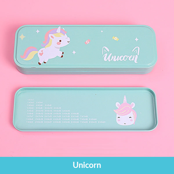 Pastel Color Cartoon Two Layers Metal Pencil Box Bundle, Unicorn Box