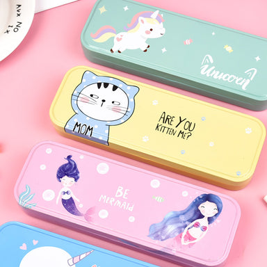 Pastel Color Cartoon Two Layers Metal Pencil Box Bundle