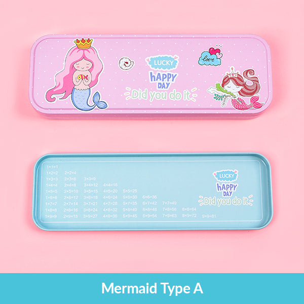 Pastel Color Cartoon Two Layers Metal Pencil Box Bundle, Mermaid Type A Box