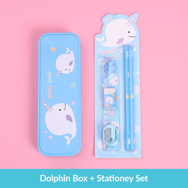 Pastel Color Cartoon Two Layers Metal Pencil Box Bundle, Dolphin Box + Stationery Set