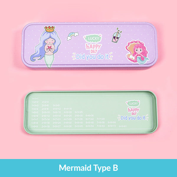 Pastel Color Cartoon Two Layers Metal Pencil Box Bundle, Mermaid Type B Box
