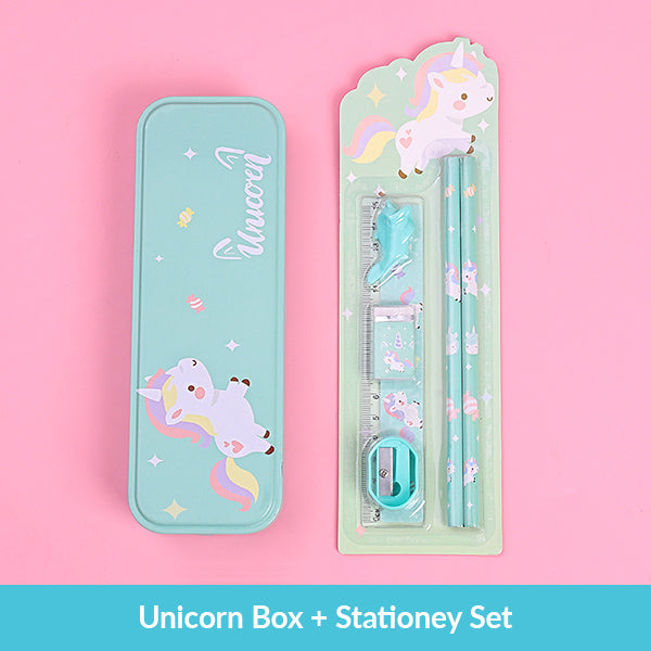 Pastel Color Cartoon Two Layers Metal Pencil Box Bundle, Unicorn Box + Stationery Set
