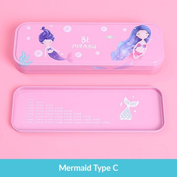 Pastel Color Cartoon Two Layers Metal Pencil Box Bundle, Mermaid Type C Box