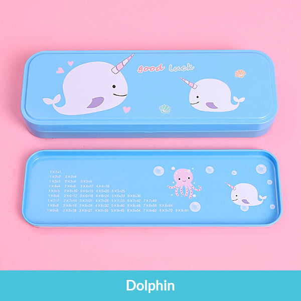 Pastel Color Cartoon Two Layers Metal Pencil Box Bundle, Dolphin Box