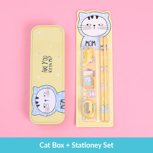 Pastel Color Cartoon Two Layers Metal Pencil Box Bundle, Cat Box + Stationery Set