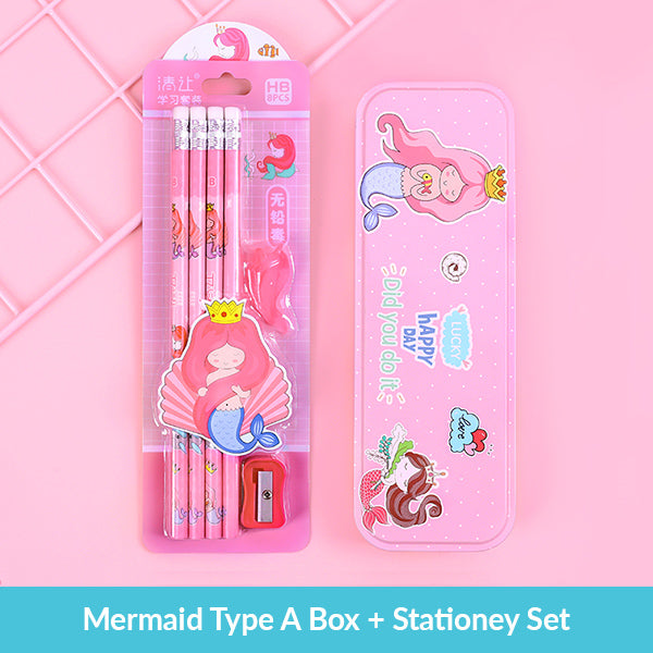 Pastel Color Cartoon Two Layers Metal Pencil Box Bundle, Mermaid Type A Box + Stationery Set